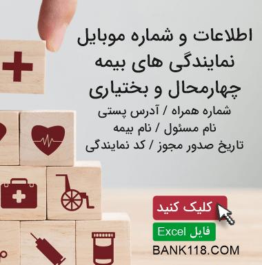 اطلاعات و لیست نمایندگی های بیمه استان چهارمحال و بختیاری