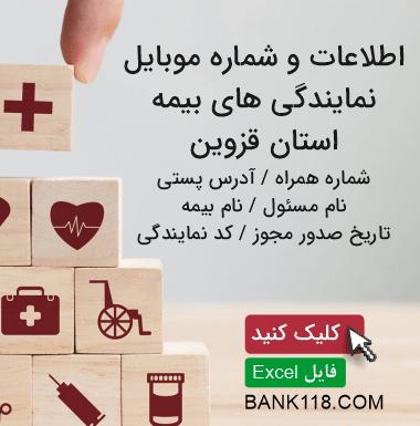 اطلاعات و لیست نمایندگی های بیمه استان قزوین
