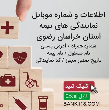 اطلاعات و لیست نمایندگی های بیمه استان خراسان رضوی